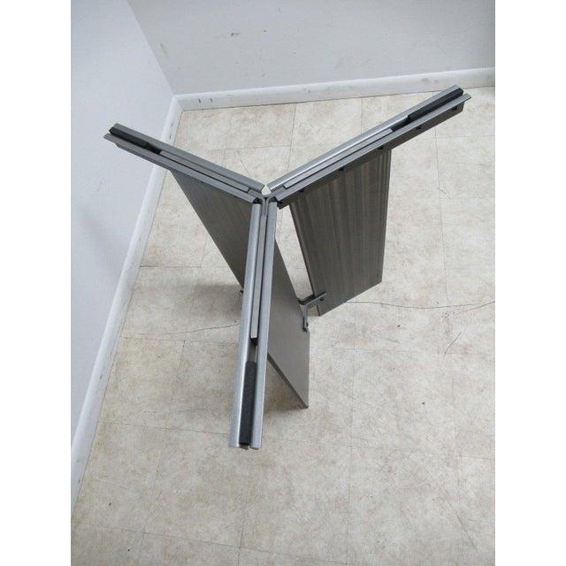 Transparent Vintage Industrial Steel Pedestal Conference Table For Sale - Image 8 of 10