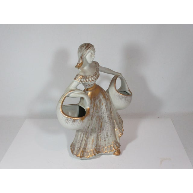 1960s Haeger Figurine of Girl With Baskets For Sale - Image 5 of 8