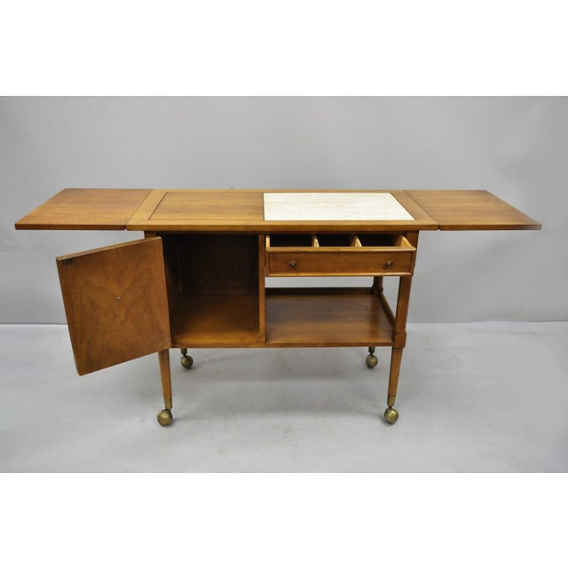 American of Martinsville Mid-Century Modern American of Martinsville Walnut Drop Leaf Server Bar Buffet For Sale - Image 4 of 11