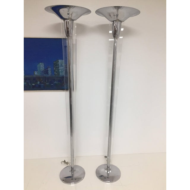 Mid-Century Modern Chrome and Lucite Torchiere Floor Lamps - a Pair For Sale - Image 10 of 10