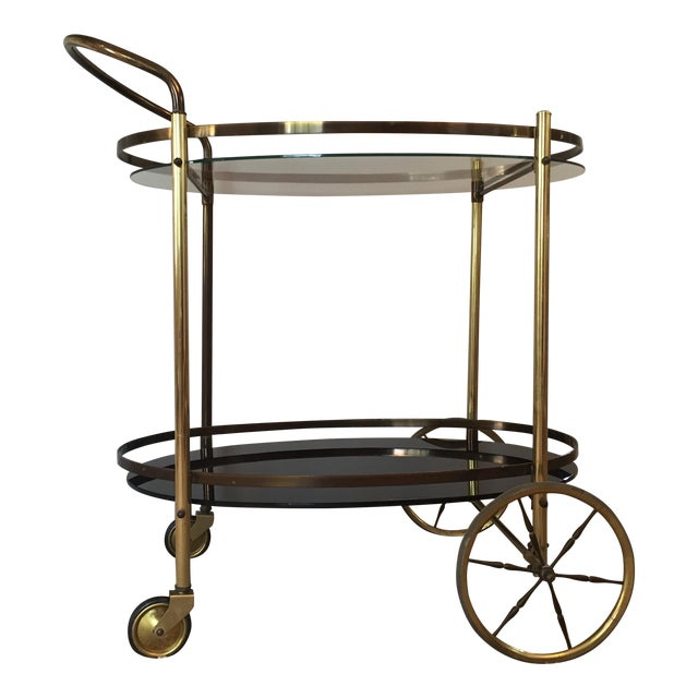 Hollywood Regency Two-Tiered Bar Cart - Image 1 of 4