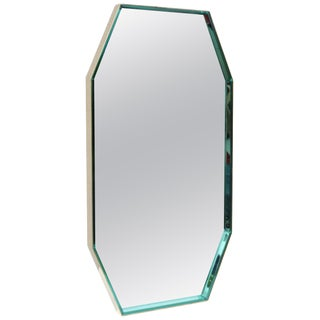 Fontana Arte Green Glass and Brass Octagonal Mirror For Sale