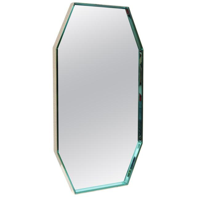 Fontana Arte Green Glass and Brass Octagonal Mirror For Sale