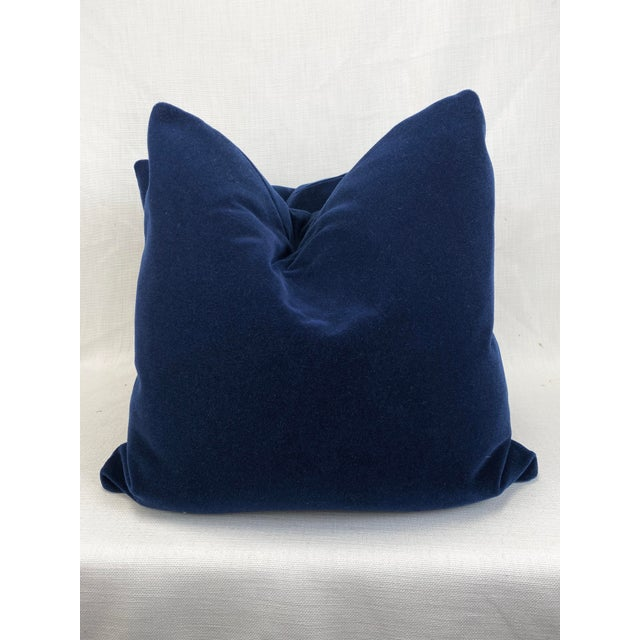 "Royal Blue Mohair 22"" Pillows-A Pair For Sale - Image 4 of 4"