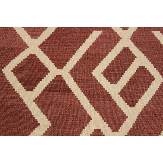 Modern Bauhaus Annabell Brown/Ivory Hand-Woven Kilim Wool Rug - 6'10 X 9'8 For Sale - Image 4 of 8