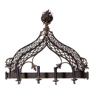 Italian Ornate Four Light Antique Iron Wall Sconce For Sale