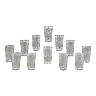 Set of 14 Signed Hawkes Hand Blown Crystal Wheel Cut Engraved Large Tumblers For Sale