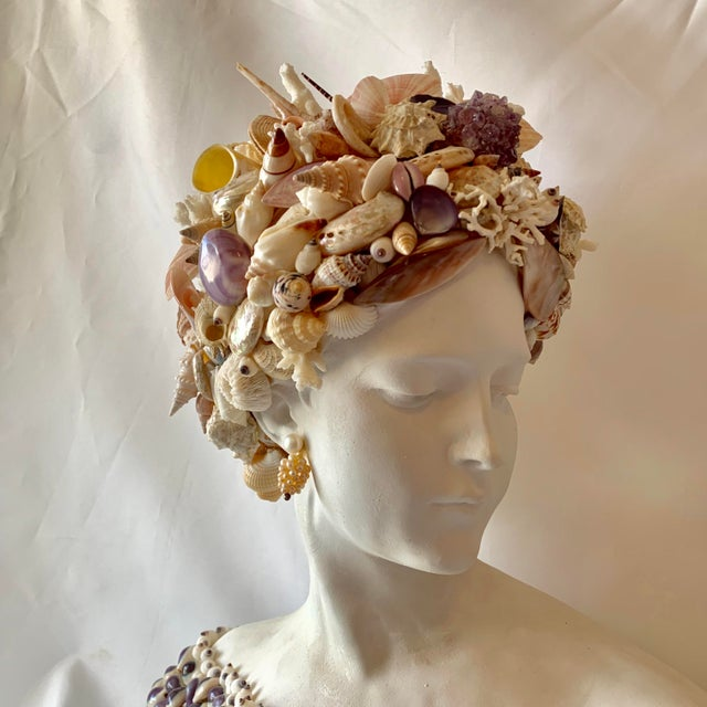 2010s Young Girl Seashell Bust Sculpture For Sale - Image 5 of 6