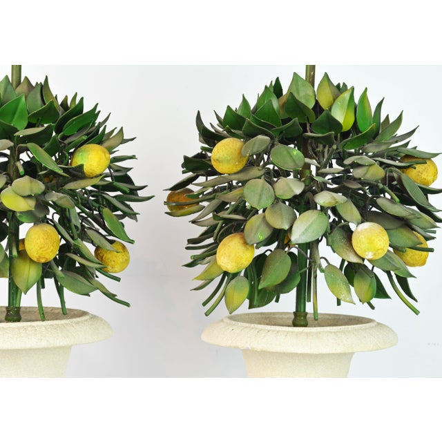 Pair of Vintage Italian Painted Tole Lemon Bush Lamps in Cast Stone Urns For Sale - Image 9 of 13