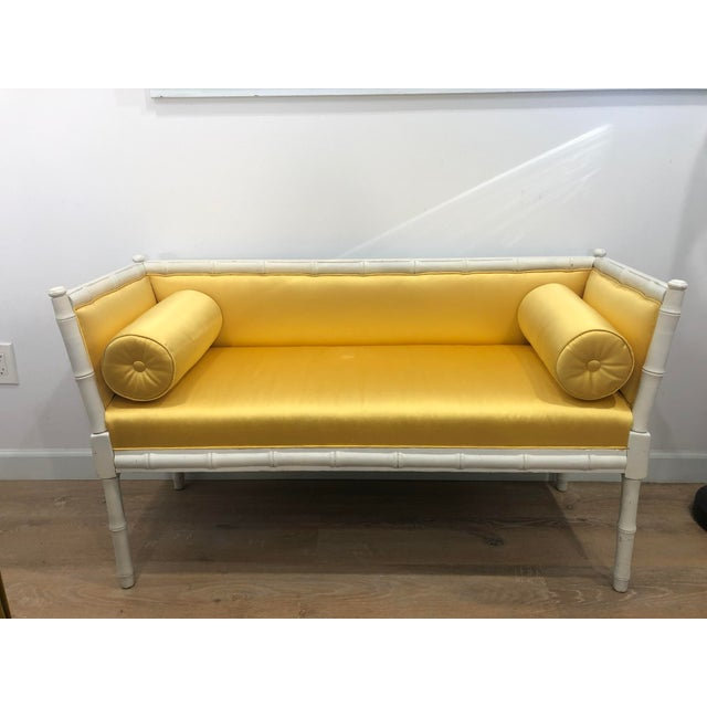 Vintage Mid-Century Faux Bamboo & Gold Satin Bench For Sale - Image 9 of 9