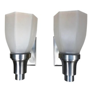 Waterworks Easton Wall Mounted Frosted Glass Shade Sconces - A Pair For Sale