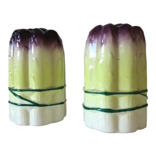 1960s Vintage Holt Howard Ceramic Asparagus Salt and Pepper Shakers - A Pair For Sale