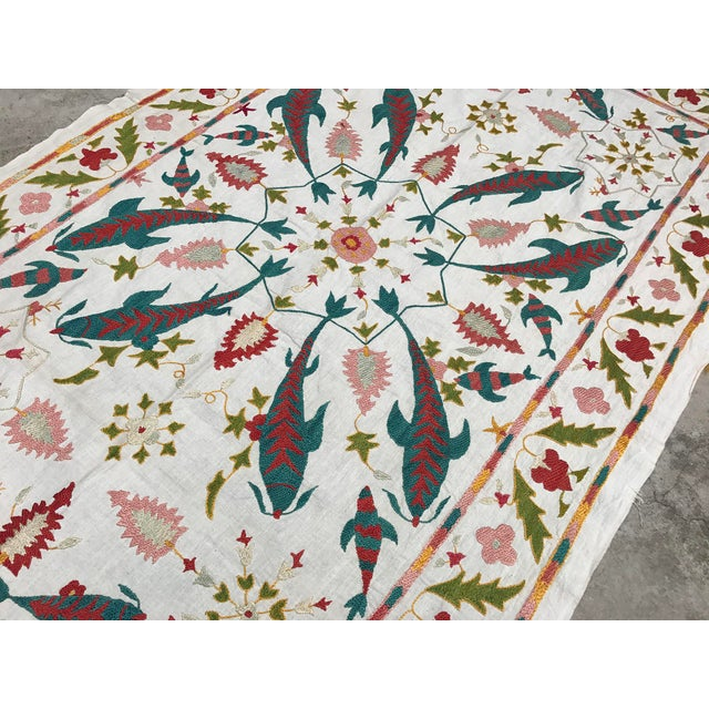 Fish Design Silk and Cotton Suzani, Vintage Table Runner For Sale In Los Angeles - Image 6 of 6