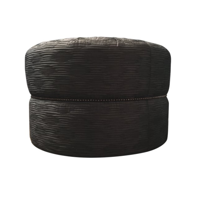 2000 - 2009 Modern Large Ottoman With Nail Head Trim For Sale - Image 5 of 5