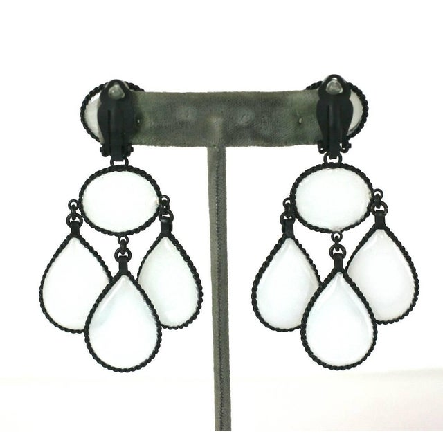 Large Opaline Girandole Earclips, hand made in the Parisian studios of Mark Walsh, Leslie Chin. A modern twist on an...