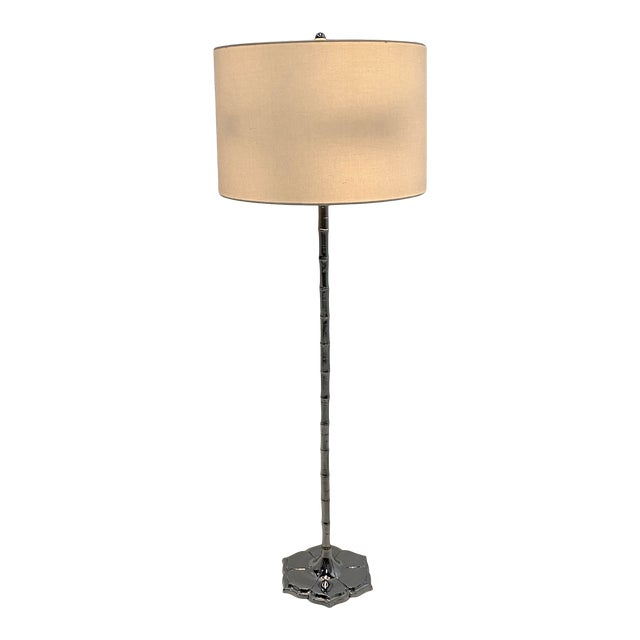 Mid-Century Modern Chrome Faux Bamboo Floor Lamp For Sale