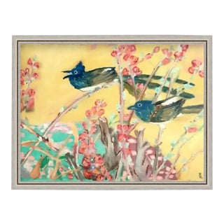 Custom Floating Frame of Original Vintage Art of Blue Jay Bird & Botanical Oil Painting For Sale