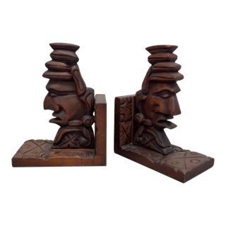 Carved Tiki Book Ends - a Pair For Sale