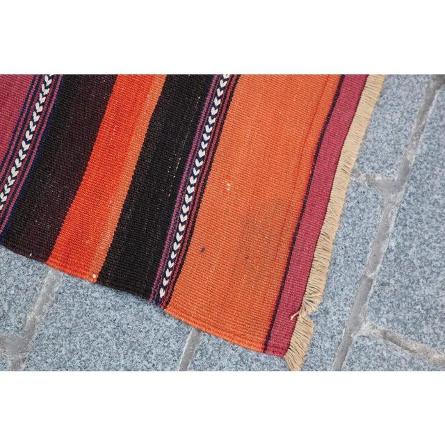 Turkish Floor Orange Stripe Kilim Rug - 4' x 2' 7'' - Image 8 of 11