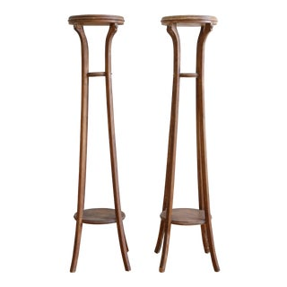 Antique Large French Primitive Wood Planter, Candle Stand - A Pair For Sale
