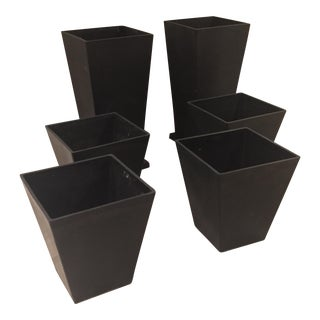 Black Resin Garden Planters - Set of 6 For Sale