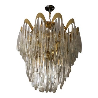 Vintage Tiered Waterfall Brass and Glass Chandelier For Sale