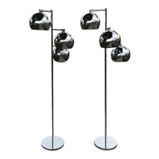 Koch & Lowy Chrome Ball Floor Lamps - A Pair For Sale
