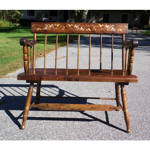 Vintage Petite Spindle Back Solid Pine Farmhouse Bench Settee features nicely turned legs with gold accent, curved arms...