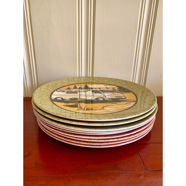 Americana Camping Outdoor Dining Trailer Park Plates, Set of Eight For Sale - Image 3 of 12