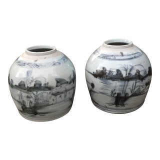 Antique Chinese Chinois Stoneware Ginger Jars - A Pair