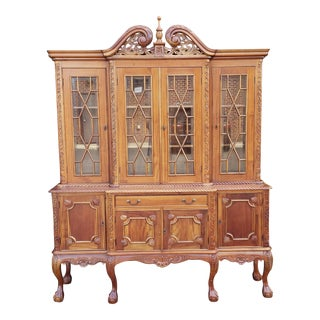 20th Century Mahogany Reproduction Chippendale Style Carved Dining Room China Cabinet For Sale