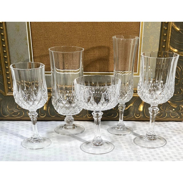 Glass Cristal d'Arques Durand Longchamp 5 Pc. Place Setting - 6 Sets / 30 Total Pieces For Sale - Image 7 of 10