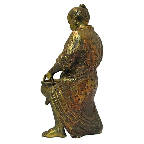Japanese Late 19th Century Vintage Japanese Meiji Period Gilt Bronze Figure For Sale - Image 3 of 7