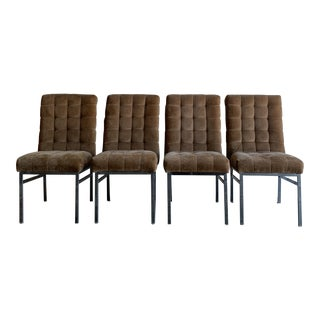 Biscuit Tufted Pierre Cardin Dining Chairs- Set of Four For Sale