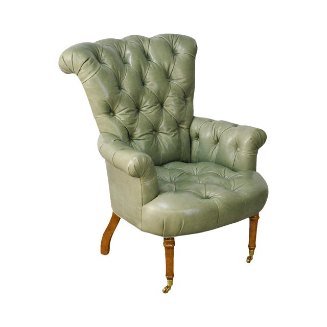 Regency Style Custom Quality Green Leather Tufted Library Wing Chair For Sale