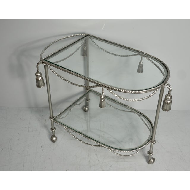 Mid 20th Century Hand Painted Metallic Rope & Tassel Bar Cart For Sale - Image 9 of 10