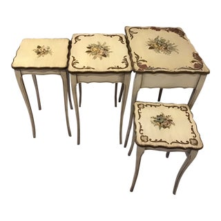 French Tole Painted Nesting Table & Side - Set of 4