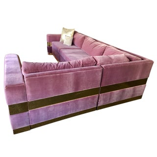 Lavender Mohair and Brass Four-Piece Custom Sectional From Hollywood Tv Series For Sale