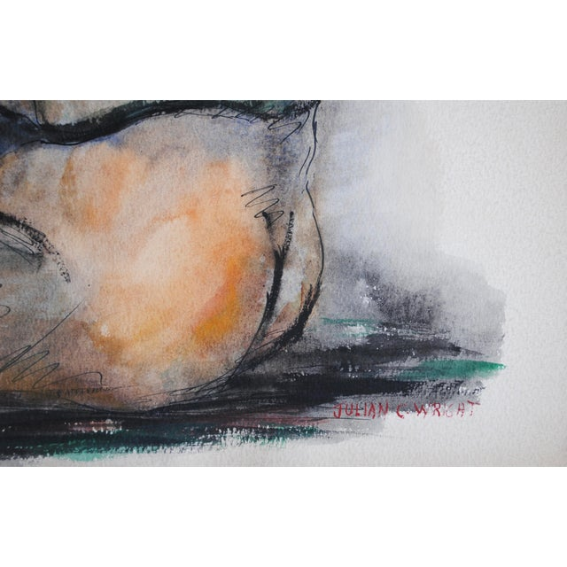 Mid-Century Watercolor by Julian Wright - Image 4 of 4