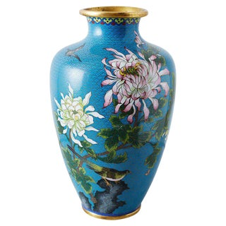 Chinese Cloisonne Chrysanthemum Flower Vase For Sale