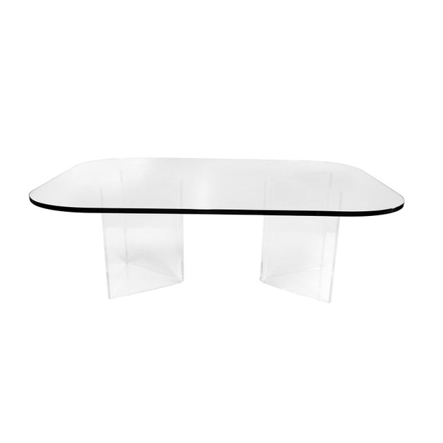 Mid-Century Modern Mid Century Modern Lucite Base Glass Top Coffee Table For Sale - Image 3 of 11