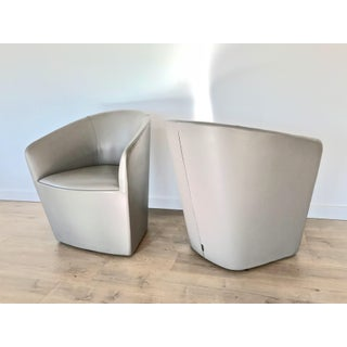 Pair of Modern Barrel Back Leather Swivel Club Chairs Preview