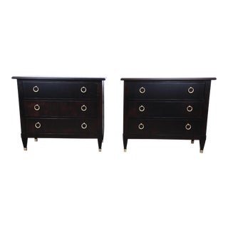 Baker Furniture Hollywood Regency Ebonized Large Nightstands or Bachelor Chests, Pair For Sale