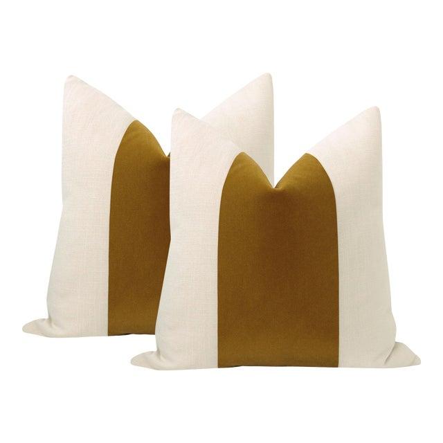 "22"" Tobacco Mohair Velvet Panel & Linen Pillows - a Pair For Sale"