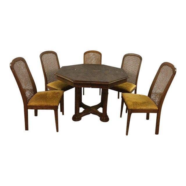 Vintage Dining Table & Cane Back Chairs For Sale