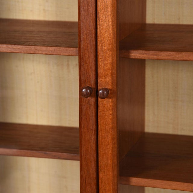 Mid-Century Modern Danish Modern Teak Hanging Display Cabinet With Glass Doors For Sale - Image 3 of 8