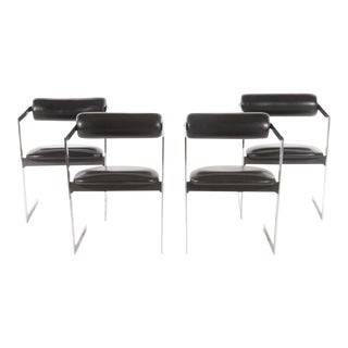 Mid-Century Modern Chrome Leather Chairs - Set of 4