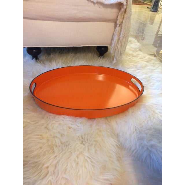 Orange Lacquer Oval Hermès Inspired Serving Tray - Image 3 of 12