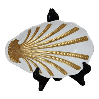 Marbro Mid-Century Modern Gold & White Shell Dish For Sale