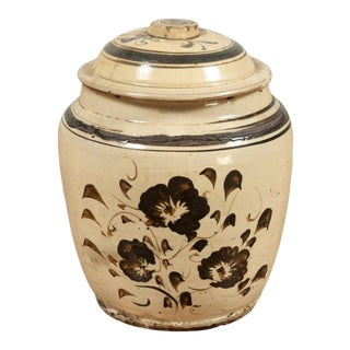 Japanese Seto Ware Covered Pot with Floral Decor For Sale